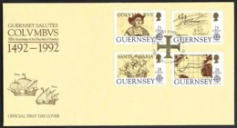 Guernsey Yv 560/63 Europa 1992 Colombus F.D.C. - Guernesey