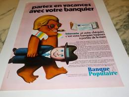 ANCIENNE PUBLICITE PARTEZ EN VACANCES BANQUE POPULAIRE 1969 - Publicidad