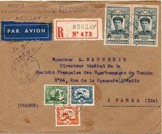 JOLIE LETTRE DE HONGAY POUR PARIS EN RECCOMMANDE EN 1938 - Indochine (1889-1945)
