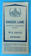 GREEK LINE - 1966. Passage Ticket PIRAUES ( Greece ) To HAIFA ( Israel ) With QUEEN ANNA MARIA Ex RMS Empress Of Britain - Boats