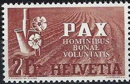 """Schweiz Suisse PAX 1945: """"Feld, Spaten & Blumen"""" (2Fr) Zu 271 Mi 456 Yv 414 * Mit Falzspur Charnière MLH (SBK CHF 30.00) - Agriculture"""