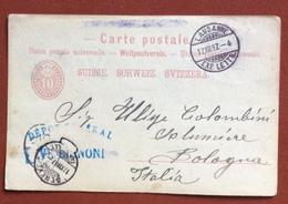 "SUISSE   POSTKARTE 10 C.   FROM TIMBRO COMMERCIALE VT.BIGNONI 17/12/87 + GENEVE  TO BOLOGNA "".... 14  Mortadelle..."" - 1882-1906 Armoiries, Helvetia Debout & UPU"