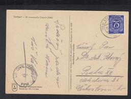 Alliierte Besetzung AK Stuttgart 1947 Nach Prag US Civil Censorship B FFM - Bizone