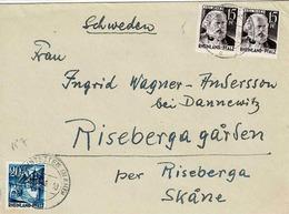 TP N°5 Et 7  Du Rhein-Pfalz Sur Enveloppe De Hochstetten Pour La Suède - French Zone