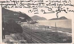 """0512 """"GENOVA - CAVI DI LAVAGNIA - LA SPIAGGIA"""" ANIMATA. FOTO CIVICCHIONI-CHIAVARI. CART  SPED 1922 - Genova (Genoa)"""