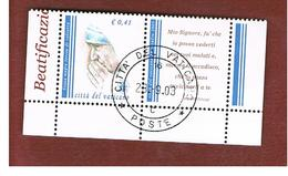 VATICANO - VATICAN - UNIF. 1333  - 2003  BEATIFICAZIONE MADRE TERESA DI CALCUTTA (CON APPENDICE) DA BF27   -     (USED°) - Usati