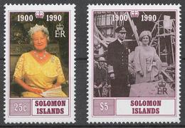 Solomon Islands 1990 Mi# 731-32** QUEEN MOTHER, 90th BIRTHDAY - Salomon (Iles 1978-...)