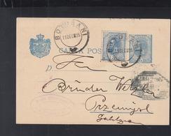 Romania Stationery Uprated 1895 To Poland - 1881-1918: Carol I.