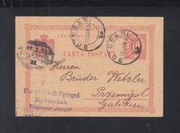 Romania Stationery Botosani Uprated 1896 To Poland - 1881-1918: Carol I.