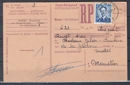 Ontvangkaart Van Namur E2E Naar Moustier - 1953-1972 Anteojos