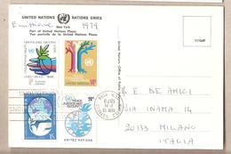 Nazioni Unite New York - Cartolina Viaggiata Per L'Italia Con Serie Completa: Vivere In Pace - 1979*G - New York -  VN Hauptquartier