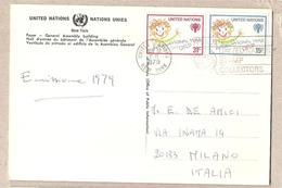 Nazioni Unite New York - Cartolina Viaggiata Per L'Italia Con Serie Completa: Anno Del Fanciullo - 1979*G - Covers & Documents
