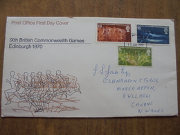 S024: FDC: IXth BRITISH COMMONWEALTH GAMES, EDINBURGH 1970. 5d, 1/6d & 1/9d. Post Office First Day Cover 15 JUL 1970. - FDC