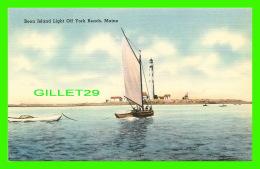 PHARES, LIGHTHOUSE - BOON ISLAND LIGHT OFF YORK BEACH, ME -  TICHNOR BROS INC - - Phares