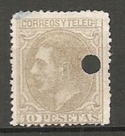 1879 - Yv. N° 192 ANNULE     (*)  10p  Brun-olive  Cote   15 Euro   BE R  2 Scans - 1875-1882 Kingdom: Alphonse XII