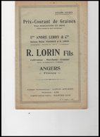 PRIX   COURANT   DE GRAINES          ETS  ANDRE   LEROY     &  CIE           R.LORIN  FILS              ANGERS - Vieux Papiers