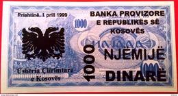 Yugoslavia Kosovo  1000 Dinara 1999 UNC - Yugoslavia