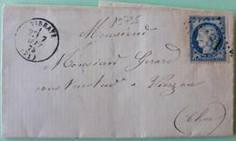 19735# SARTHE LETTRE Obl GC + VIBRAYE 1875 T16 Pour VIERZON CHER - Marcophilie (Lettres)