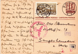 Switzerland Used Postal Stationery Card 10 Rp Sent To Germany In 1944, Censored - Stamped Stationery