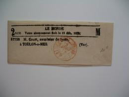 Bande Journal  Le Monde Cachet PP Rouge 1873  - M. Court, Aumônier Du Lycée à Toulon-sur-Mer (Var) - France