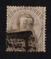 Spain. 1872 -1873 King Amadeo I. 10c. Brown Lilac. Sc. 180. Cancelled - 1872-73 Königreich: Amédée I.