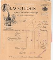Facture Lacquesin Apéritifs 207 Boulevard Saint St Germain  1936 - Alimentaire