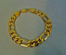 Imposante Gourmette Plaquage Doré Brillant Pour Homme - Bracelets