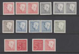 Sweden 1957 - Gustav VI Adolf, Type II, Michel 424-428 MNH ** - Suède