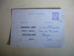 Entier Postal  Repiquage Laboratire Lissot Pacy Sur Eure Iris 1 F 320 - Cartes Postales Repiquages (avant 1995)