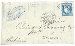 N°60 CERES GARE DE CHAUMONT EN BASSIGNY 1874 POUR LYON / DEVANT DE LETTRE - Postmark Collection (Covers)