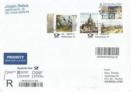 Germany 2018 Berlin Crane Painting Zwinger Frauenkirche Dresden Registered Cover - Kranichvögel