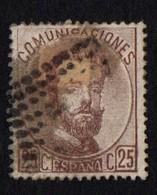 Spain. 1872 -1873 King Amadeo I. 25c. Brown. Sc. 184. Cancelled - 1872-73 Königreich: Amédée I.