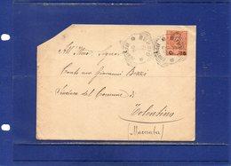 ##(DAN1810)-1906-Busta  Da Gubbio (Perugia), Annullo Tondo Riquadrato, Per Tolentino (Macerata) - Marcofilie