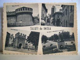 1949 - Imola - Saluti Da Imola - Vedute - Via Emilia Rocca Sforzesca Via Dante - Animata - Cartolina Storica Originale - Imola