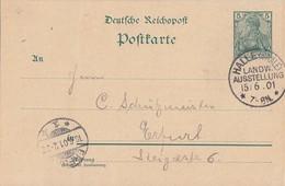 DR Ganzsache SST Halle (Saale) Landw. Ausstellung 15.6.01 Seltener Stempel - Deutschland