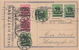 DR Ganzsache Zfr. Minr.3x 287,288,2x 295 Hamburg 7.10.23 Gel. Nach Österreich - Deutschland