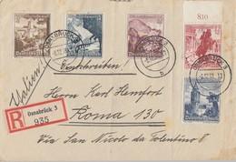 DR R-Brief Mif Minr.675,676,680,681,682 Osnabrück 6.12.38 Gel. Nach Italien - Briefe U. Dokumente