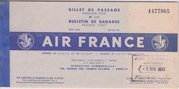 BULLETIN DE BAGAGES ET BILLE DE PASSAGE AIR FRANCE MARSEILLE A CASABLANCA - Europe