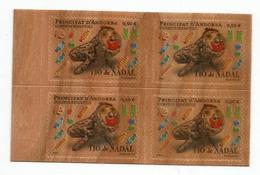 ANDORRA. Timbres En Bois.Tio De Nadal, (gateau Bûche De Noël) Bloc De 4 Neufs  ** Année 2017 (Wood Paper Stamps) - Nuevos