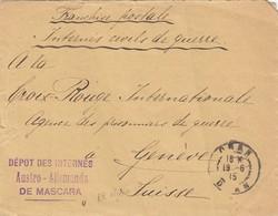 LETTRE INTERNÉ CIVIL DE GUERRE. FRANCHISE MILITAIRE. CACHET DEPOT DES INTERNES AUSTRO-ALLEMANDS DE MASCARA ALGERIE - Postmark Collection (Covers)