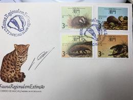 MACAU 1988 REGIONAL ANIMALS UNDER EXTINTION FDC WITH STAMP DESIGNER SIGNATURE - Macao