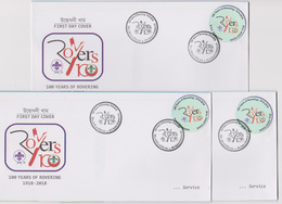 Bangladesch 2018 Scout 3 Diff Postmark 100 Years Of Rovering 80tk High Value FDC From 3 GPO Scouting Scoutisme RARE - Unclassified