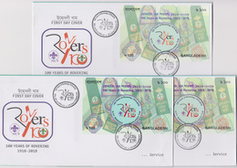 Bangladesch 2018 3 Diff Postmark Scout 100 Years Of Rovering MS High Value FDC From 3 GPO Scouting Scoutisme RARE - Unclassified