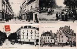 Lot De 4 CPA Dép 21 Dijon Av. Gare Rue Bossuet, Place F. Rude,  Rond Point Des Alliés   3  Circulées - Dijon