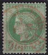 CERES 1871 N°53e 5c Vert Sur Crème Obl Dateur Des Imprimés PARIS Rouge PP16,  Parfait !!! - 1871-1875 Ceres