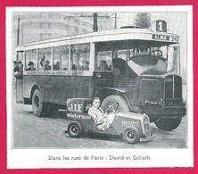 "Stylo Jif Waterman. ""Dans Les Rues De Paris, David Contre Goliath"". Mini Voiture Contre Autocar. 1930 - Pubblicitari"