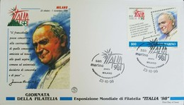 L) 1998 SAN MARINO, POPE JUAN PABLO II, RELIGION, WORLD EXHIBITION OF PHILATELY ITALY 98, FDC - FDC