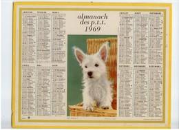 ALMANACH CALENDRIER PTT 1969 CHIEN DEPT 38 ISERE BE - Big : 1961-70