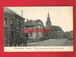 [88] Vosges > PROVENCHERES Rue Principale Avec L'Eglise Endommagée - Provencheres Sur Fave