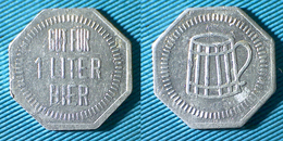 02496 GETTONE TOKEN JETON KANTINE BIRRA BIER GUT FUR 1 LITER BIER ALU - Germany